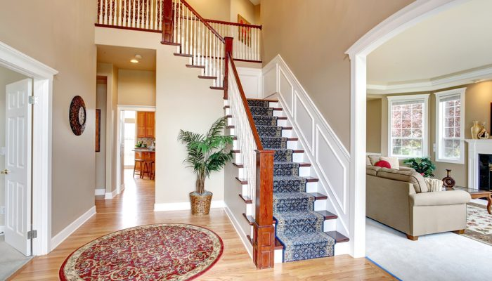 Hardwood hallway with red round rug and palm tree. View of staircase with blue rug